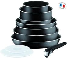 TEFAL INGENIO ESSENTIAL 10-osainen keittiöastiasarja L2008802 16-20-24-26-28cm - Kaikki polttimet paitsi induktio - Musta