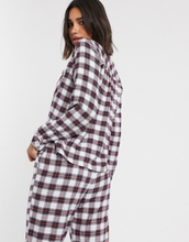Abercrombie & Fitch classic flannel pyjama shirt co-ord-Cream