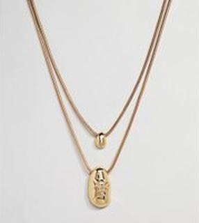 ASOS DESIGN Curve - Guldpläterat och flerdelat halsband med följsam design och bucklig metall - Guld