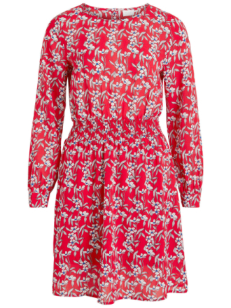 VILA Patterned Long Sleeved Dress Women Red