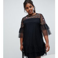 Junarose Tulle Embroidered Dress - Black
