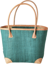 RICE - Raffia Shopping Bag Medium, Emerald Green