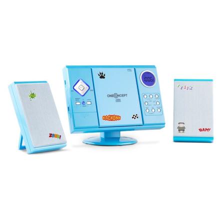 V-12 stereoanläggning MP3-CD-spelare USB SD AUX blå sticker