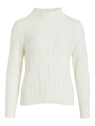 VILA Cable Knit Pullover Women White