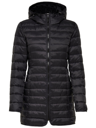 ONLY Long Quilted Jacket Women Black