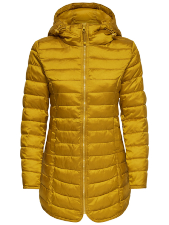 ONLY Long Quilted Jacket Women Yellow