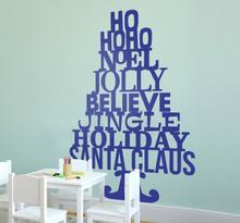 Woorden tekst kerstmis kerstboom sticker