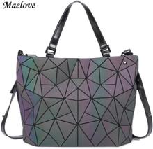 Maelove Geometry bag Women Luminous Bag Diamond Hologram Laser Plain Folding Rainbow Handbags bag Free Shipping