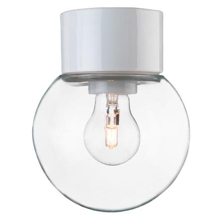 Classic Kugle Hvid/Klar Ip54 Loftlampe - Lampan