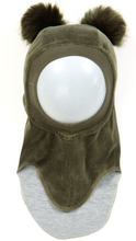 Huttelihut balaclava lue i velour med dusker, army