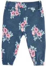 0c9d08c9 MinyMo bukse til baby med blomster, blågrå