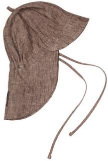Huttelihut solhatt til barn med nakkebeskyttelse, brun