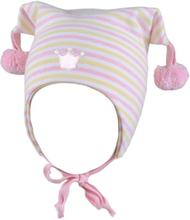 Kivat vårlue til barn med hvite og gule striper, rosa