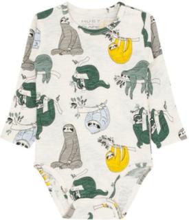 Hust & Claire body til baby med dovendyr, ivory