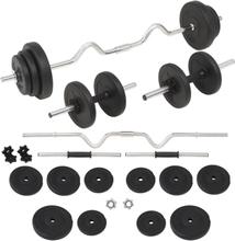 vidaXL Skivstång och hantlar set 30 kg