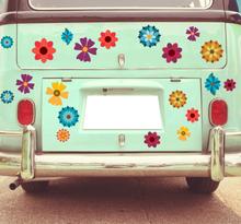Voertuig sticker veelkleurige bloemen