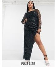 Pretty Darling Plus – Svart asymmetrisk klänning med paljetter och rysch