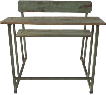 Lumang vintage skrivbord med bänk - Grågrön