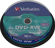 Verbatim DVD-RW, 4x, 4,7 GB/120 min, 10-pack spindel, SERL (43552)