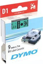 DYMO D1, markeringstape, 9mm, sort tekst på grøn tape, 7m - 40919