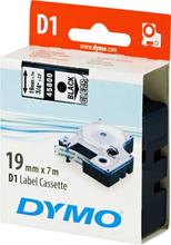 DYMO D1, markeringstape, 19mm, sort tekst på transp. tape, 7m - 45800
