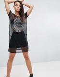 Religion Sheer T-Shirt Dress - Black