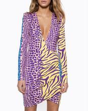 Deep V-Neck Mini Dress Multi Color