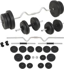 vidaXL Skivstång och hantlar set 60 kg