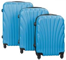 Musling blå kuffertsæt - Sæt med rejsekufferter i 3 størrelser - Eksklusiv hardcase kuffertsæt