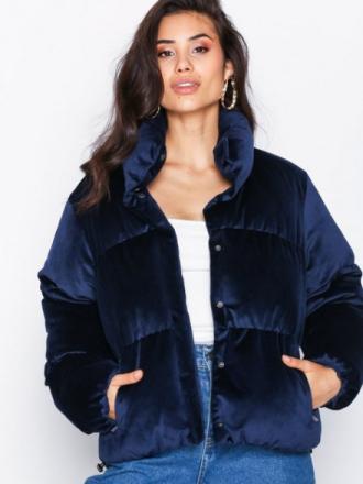 Dunjakker - Navy NLY Trend Velvet Puffer Jacket
