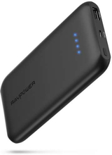 RAVPower Slim 10.000 mAh powerbank m. QC 3.0 USB i sort
