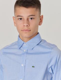 Lacoste, WOVEN SHIRTS, Blå, Skjorter till Dreng, 14 år