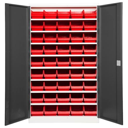 Lagerskab ASPB Mod1 1980x1200x550 Grå dør Rød kasse