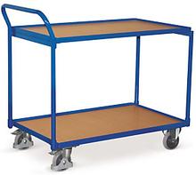 Etagenwagen mit 2 Holzböden, senkrechtem Griff und 112,5 cm Länge
