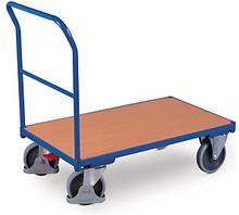Magazinwagen mit Holzboden und zentraler Bremse, 1030 x 700 mm