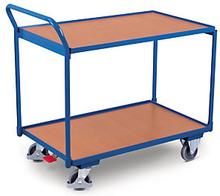 Etagenwagen mit 2 Holzböden, senkrechtem Griff und 975 cm Länge