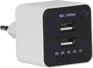 USB-laddare med timer 2-vägs max 2400mA