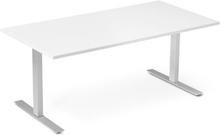 Höj och sänkbart skrivbord ProfiS 60 1600 x 800 mm - Vitlaminat, 2-ben elektriskt Alugrå
