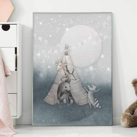 Barnposter, Star night (18x24 cm)