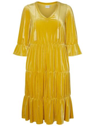 JUNAROSE Velvet Dress Women Yellow