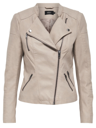 ONLY Leather Look Jacket Women Grey