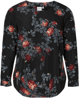 JUNAROSE Flowered Long Sleeved Blouse Kvinna Svart