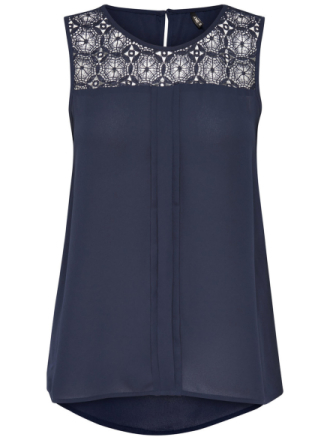 ONLY Lace Panel Sleeveless Top Women Blue