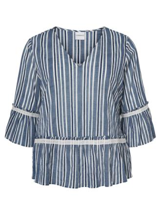 JUNAROSE Striped Blouse Women Blue