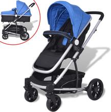 vidaXL 2-i-1 sitt-/liggvagn aluminium blå och svart