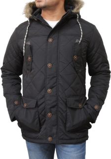 Mens Blue Quilted Padded Parka Jacket-Scott