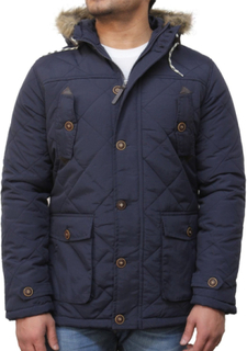 Mens Blue Quilted Padded Parka Jacket-Troy