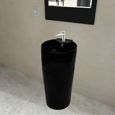vidaXL Handfat med kran- och överflödeshål i keramik svart med ställning