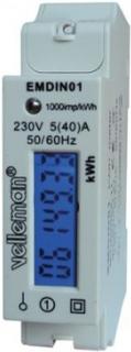 Elmätare 1-fas med LCD-display och pulsutgång