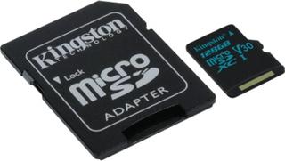 Kingston 128GB microSDHC 90R/45W U3 UHS-I kort + SD-adapter